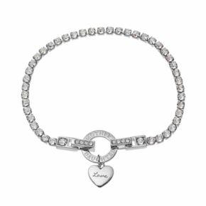 "Brilliance ""Mother Daughter"" Heart Charm Tennis Bracelet with Swarovski Crystals"