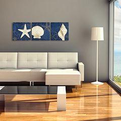 Trademark Fine Art Coastal Moonlight Teal Canvas Wall Art 3-piece Set