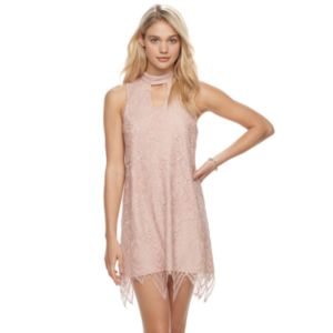 Juniors' Love, Fire Mockneck Lace Shift Dress