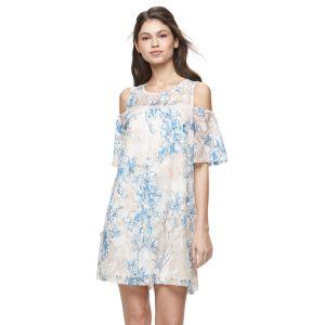 Juniors' Lily Rose Floral Cold-Shoulder Shift Dress