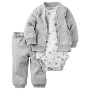 Baby Boy Carter's Quilted Cardigan, Printed Bodysuit & Pants Set