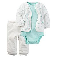 Baby Girl Carter's Print Cardigan, Bodysuit & Solid Pants Set