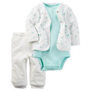 Baby Girl Carter's Print Cardigan, Bodysuit & Solid Pants Set