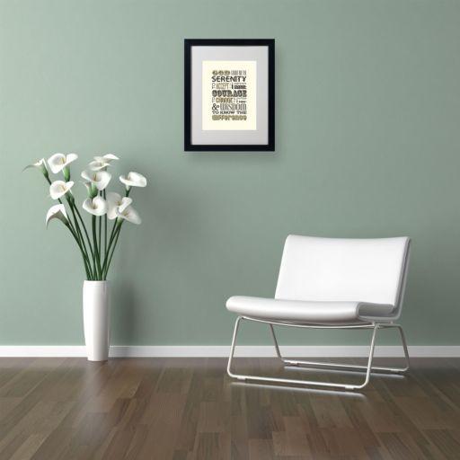 """Trademark Fine Art """"Serenity Prayer I"""" Matted Black Framed Wall Art"""