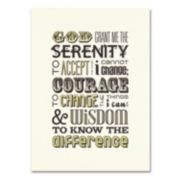 "Trademark Fine Art ""Serenity Prayer I"" Canvas Wall Art"