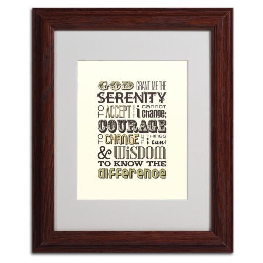 "Trademark Fine Art ""Serenity Prayer I"" Matted Wood Finish Framed Wall Art"