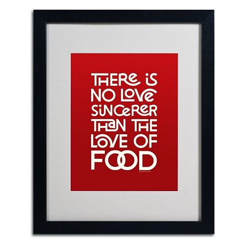 "Trademark Fine Art ""Sincere Love of Food II"" Matted Black Framed Wall Art"