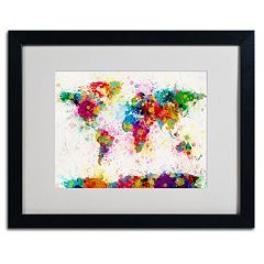 Trademark Fine Art 'World Map Paint' Framed Matted Art