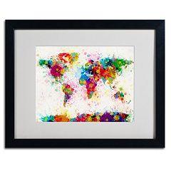 Trademark Fine Art 'World Map Paint' Framed Matted Art