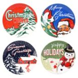 Certified International Retro Christmas 4-pc. Dessert Plate Set
