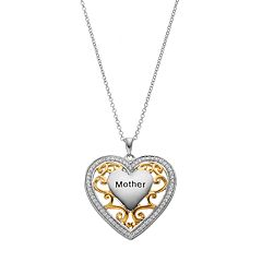 Sentimental Expressions Two Tone Sterling Silver Cubic Zirconia 'Mother' Heart Necklace