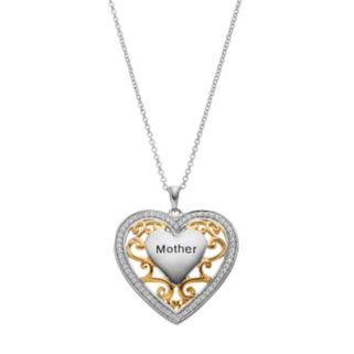 "Sentimental Expressions Two Tone Sterling Silver Cubic Zirconia ""Mother"" Heart Necklace"