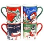 Certified International Retro Christmas 4-pc. Mug Set