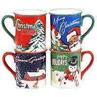 Certified International Retro Christmas 4-pc. Mug Set