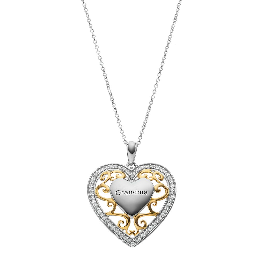 Sentimental Expressions Two Tone Sterling Silver Cubic Zirconia