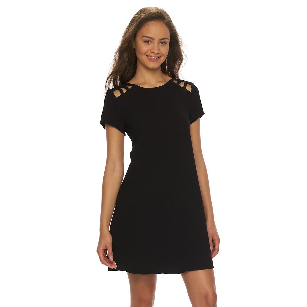 Juniors' Speechless Lattice Short Sleeve Dress
