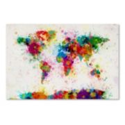 "Trademark Fine Art ""Paint Splashes World Map"" Canvas Wall Art"
