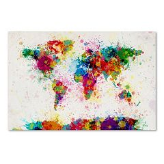 Trademark Fine Art 'Paint Splashes World Map' Canvas Wall Art
