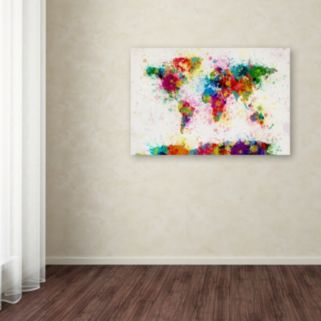 "Trademark Fine Art ""Paint Splashes World Map"" Canvas Wall Art"