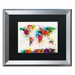 Trademark Fine Art 'Paint Splashes World Map' Matted Silver Finish Framed Wall Art