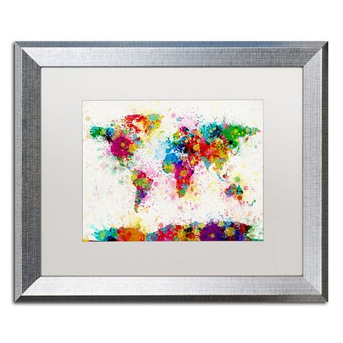 "Trademark Fine Art ""Paint Splashes World Map"" Matted Silver Finish Framed Wall Art"