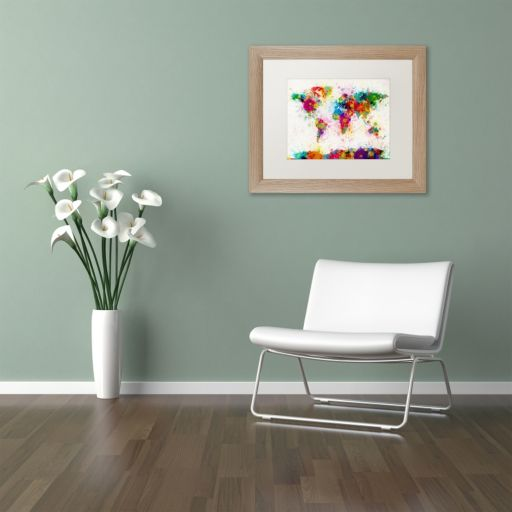 "Trademark Fine Art ""Paint Splashes World Map"" Matted Framed Wall Art"