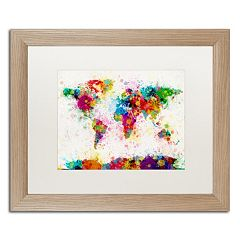 Trademark Fine Art 'Paint Splashes World Map' Matted Framed Wall Art