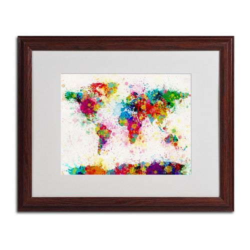 "Trademark Fine Art ""World Map Paint"" Wood Finish Framed Wall Art"