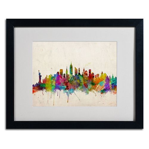 "Trademark Fine Art ""New York Skyline"" Black Framed Wall Art"