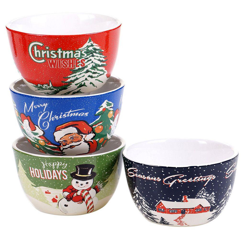 Certified International Retro Christmas 4-pc. Ice Cream Bowl Set