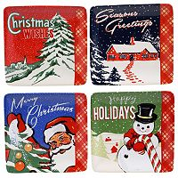 Certified International Retro Christmas 4-pc. Canape Plate Set