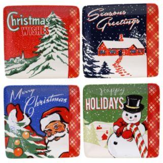 Certified International Retro Christmas 4-pc. Canape Plate Set