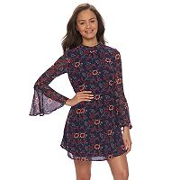 Juniors' Speechless Mockneck Bell Sleeve Print Dress