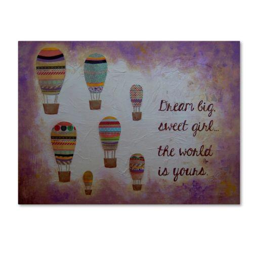 Trademark Fine Art Hot Air Balloons & A Sweet Girl Canvas Wall Art