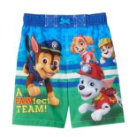 "Toddler Boy Paw Patrol Chase, Marshall & Skye ""Pawfect Team"" Swim Trunks"