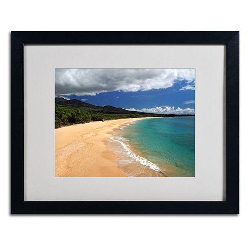 "Trademark Fine Art ""Makena Maui"" Black Framed Wall Art"