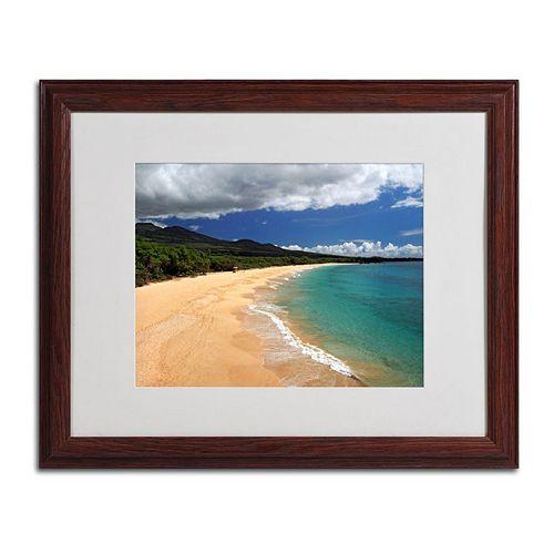 "Trademark Fine Art ""Makena Maui"" Wood Finish Framed Wall Art"