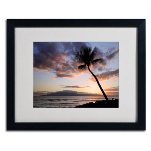 "Trademark Fine Art ""Palm Tree Maui"" Black Framed Wall Art"