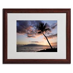 Trademark Fine Art 'Palm Tree Maui' Wood Finish Framed Wall Art