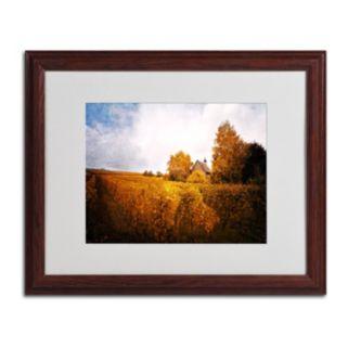 "Trademark Fine Art ""Light in Vineyards"" Wood Finish Framed Wall Art"