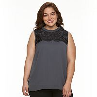 Plus Size AB Studio Lace-Trim Yoryu Tank