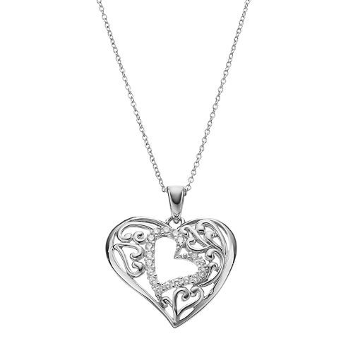 Sentimental Expressions Sterling Silver Cubic Zirconia Motherly Love Heart Necklace