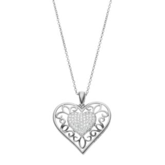 Sentimental Expressions Sterling Silver Cubic Zirconia Daughter Heart Necklace