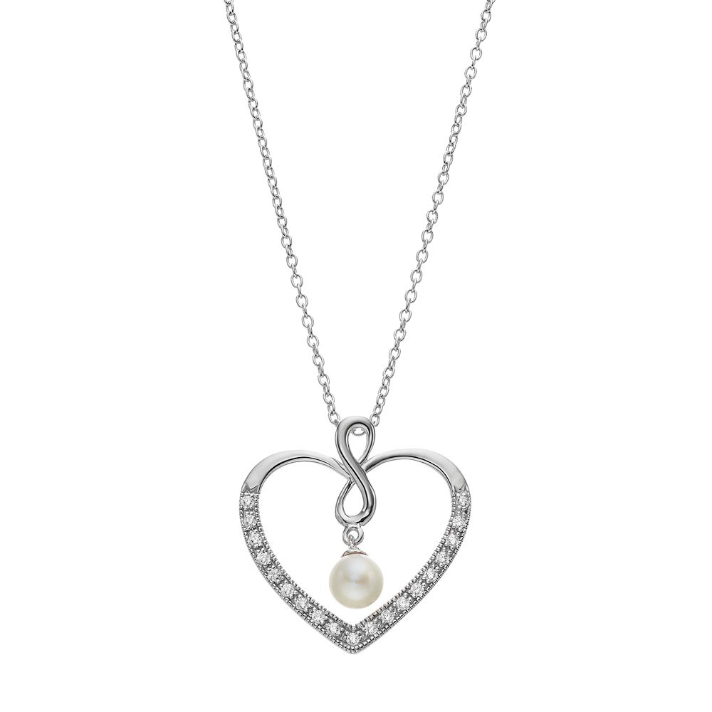 Sentimental Expressions Sterling Silver Freshwater Cultured Pearl Friend Heart Necklace