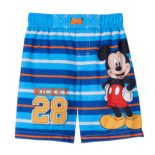 "Disney's Mickey Mouse ""Mickey 28"" Toddler Boy Striped Swim Trunks"