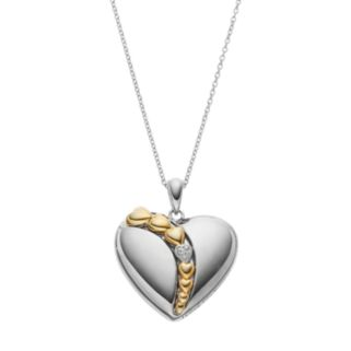 Sentimental Expressions Two Tone Sterling Silver Cubic Zirconia Heart Necklace
