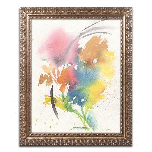 Trademark Fine Art Rainbow Bouquet Ornate Framed Wall Art