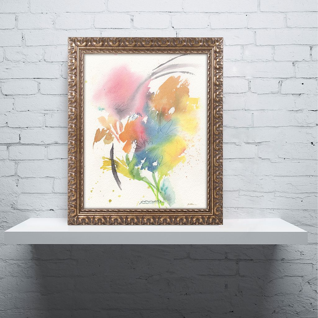 Trademark Fine Art Rainbow Bouquet Ornate Framed Wall Art