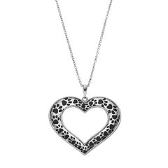 Sentimental Expressions Sterling Silver Paw Print Heart Necklace