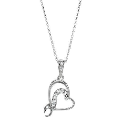 Sentimental Expressions Sterling Silver Cubic Zirconia Sister Bridesmaid Heart Necklace